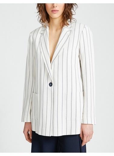Koton Çizgili Ceket Beyaz